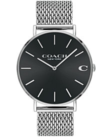 COACH Men's Charles Stainless Steel Mesh Bracelet Watch 36mm