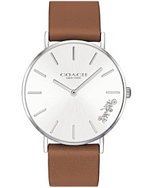 COACH Men's Perry Created for Macy's Saddle Leather Strap Watch 36mm
