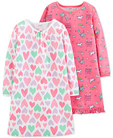 Carter's Big Girls 2-Pc. Printed Nightgown Set