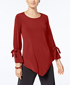 Alfani Ruffled-Sleeve Pointed-Hem Blouse, Created for Macy's