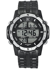 I.N.C. Men's Digital Black Silicone Strap Watch 46mm, Created for Macy's