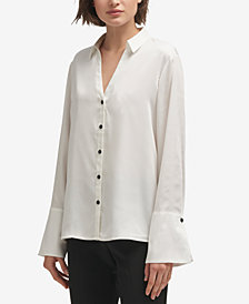 DKNY Flared-Sleeve Button-Front Top, Created for Macy's