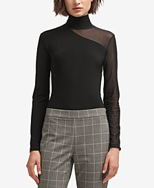 DKNY Mesh Turtleneck Bodysuit, Created for Macy's