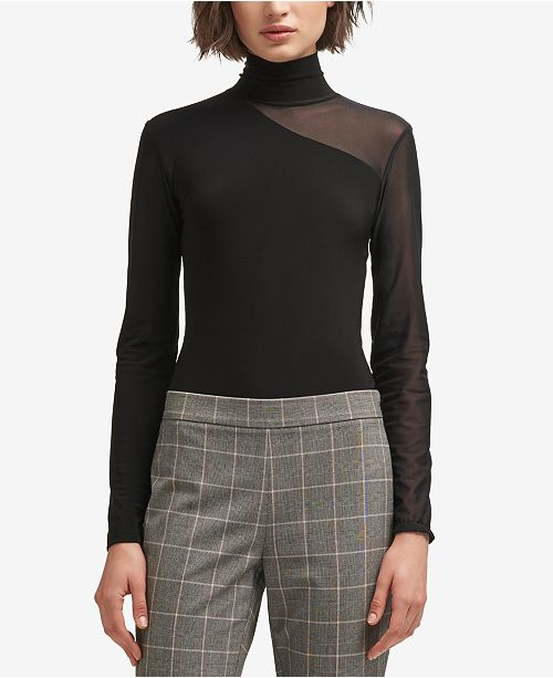 6ee6b16246 DKNY Mesh Turtleneck Bodysuit  DKNY Mesh Turtleneck Bodysuit ...