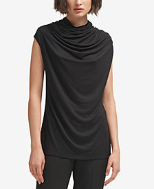 DKNY Draped Cap-Sleeve  Turtleneck Top, Created for Macy's
