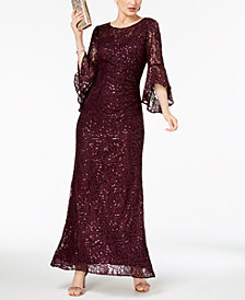 Nightway Sequin-Embellished Lace Gown