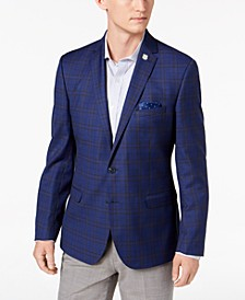 Men's Slim-Fit Stretch Blue Windowpane Sport Coat, Online Only