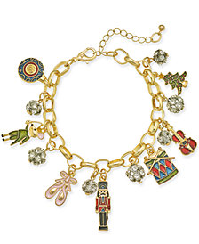 Holiday Lane Gold-Tone Crystal, Stone & Epoxy Nutcracker Charm Bracelet, Created for Macy's