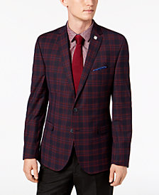 Nick Graham Men's Slim-Fit Stretch Navy/Red Plaid Sport Coat, Online Only