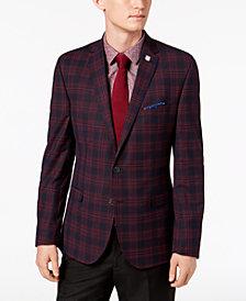 Nick Graham Men's Slim-Fit Stretch Navy/Red Plaid Sport Coat, Online Only