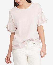 Lauren Ralph Lauren Ruffle-Sleeve Cotton Top