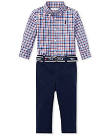Ralph Lauren Baby Boys Plaid Shirt & Chino Pants Set