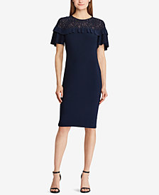 Lauren Ralph Lauren Petite Lace-Yoke Ruffled Dress
