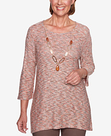 Alfred Dunner Sunset Canyon Space Dye Necklace Tunic Top