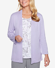 Alfred Dunner Printed Layered-Look Embellished Top