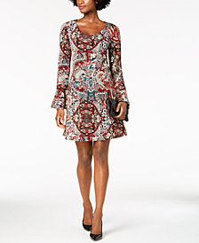 Connected Petite Printed Bell-Sleeve A-Line Dress