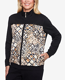 Alfred Dunner Petite Travel Light Printed Mandarin-Collar Jacket