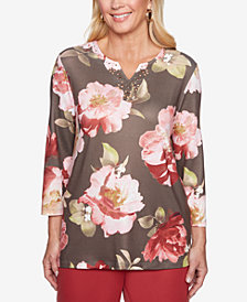 Alfred Dunner Petite Sunset Canyon Floral-Print Split-Neck Top