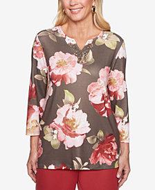 Alfred Dunner Petite Floral-Print Split-Neck Top