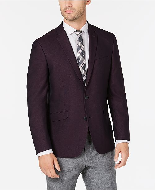 Kenneth Cole Reaction Men's Slim-Fit Burgundy Shimmer Sport Coat, Online Only