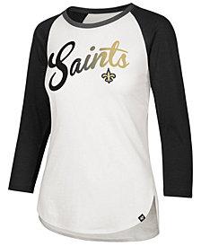 '47 Brand Women's New Orleans Saints Splitter Ombre Raglan T-Shirt