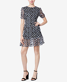 Betsey Johnson Polka-Dot Smocked Lace Dress
