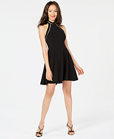 B Darlin Juniors' Imitation Pearl-Trim Fit & Flare Dress