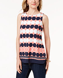 Charter Club Circle-Print Sleeveless Top, Created for Macy's