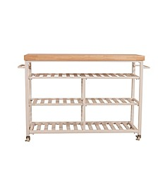 Kennon Kitchen Cart with Natural Wood Top