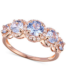 Cubic Zirconia Simulated Aquamarine Stone Ring in 14k Rose Gold-Plated Sterling Silver