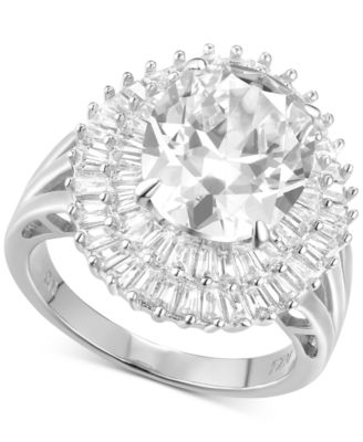 Cubic Zirconia Baguette Statement Ring in Sterling Silver