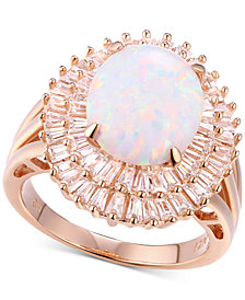 Cubic Zirconia Simulated Opal Baguette Statement Ring in 14k Rose Gold-Plated Sterling Silver
