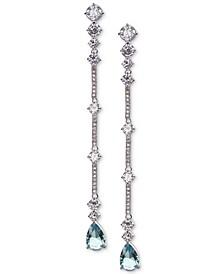 Cubic Zirconia & Stone Linear Drop Earrings