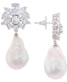 Nina Silver-Tone Crystal Cluster & Imitation Pearl Drop Earrings
