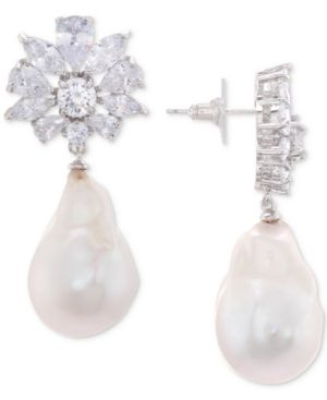 NINA Silver-Tone Crystal Cluster & Imitation Pearl Drop Earrings in White