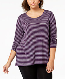 Ideology Plus Size Cutout-Back Long-Sleeve T-Shirt, Created for Macy's