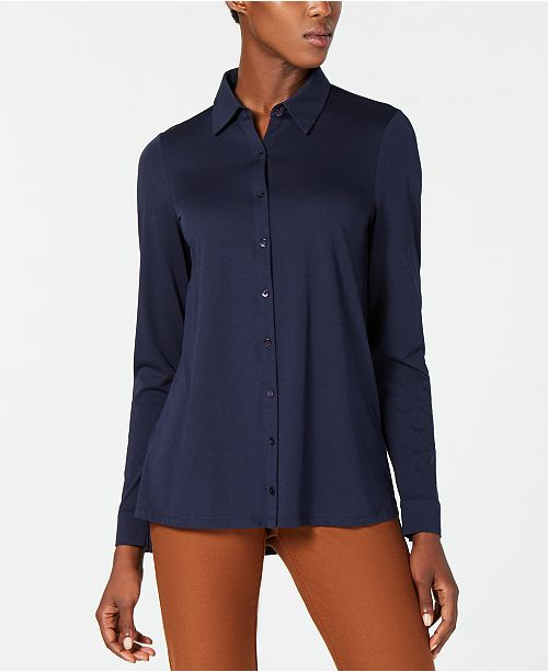 Midnight Front Eileen Organic Shirt Button Fisher Cotton WPWYq4fZv