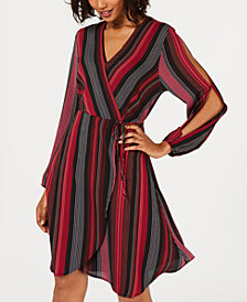 Monteau Petite Striped Split-Sleeve Faux-Wrap Dress, Created for Macy's