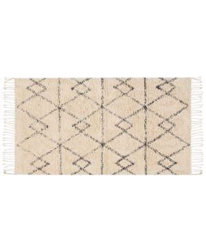 "Nourison Geometric Zig Zag Art Ivory/Charcoal 27"" x 45"" Moroccan Shag Accent Rug Bedding 6698142"