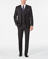 beaaf0c548f Lauren Ralph Lauren Men s Classic Regular Fit UltraFlex Charcoal Stripe  Vested Suit