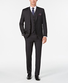 Lauren Ralph Lauren Men's Classic/Regular Fit UltraFlex Charcoal Stripe Vested Suit