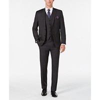 Ralph Lauren Men's Classic/Regular Fit UltraFlex Charcoal Stripe Vested Suit (Charcoal)
