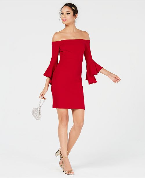 Teeze Me Juniors' Ruffle-Sleeve Off-The-Shoulder Dress