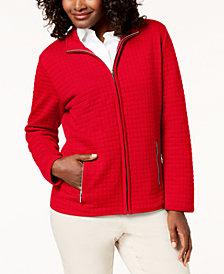Karen Scott Quilted Fleece Jacket, Created for Macy's