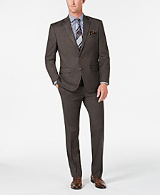 Men's Classic/Regular Fit Stretch Brown Sharkskin Suit, Created for Macy's