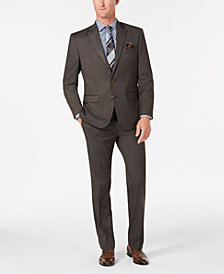 Club Room Men's Classic/Regular Fit Stretch Brown Sharkskin Suit, Created for Macy's