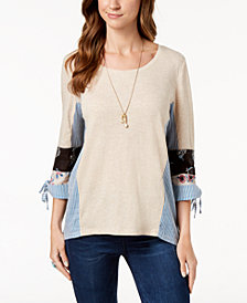 Style & Co 3/4-Sleeve Patchwork Top, Created for Macy's