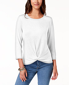 Style & Co Knot-Hem Top, Created for Macy's