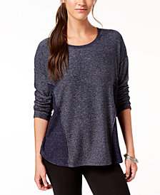 Style & Co Colorblocked Marled Top, Created for Macy's
