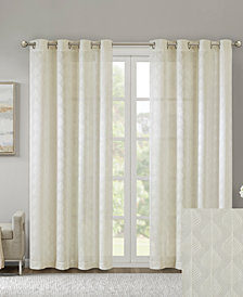 "Madison Park Nadal 50"" x 95"" Leaf Embroidered Grommet Sheer Window Curtain"